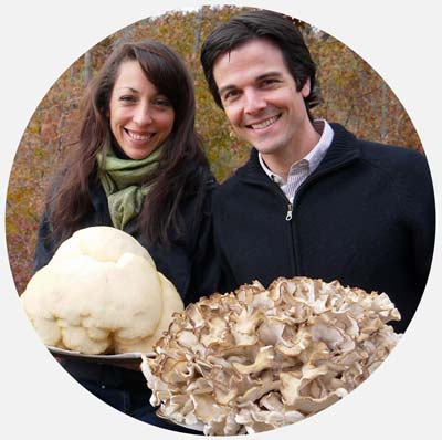 susan & aaon with their mushrooms - www.tyrantfarms.com